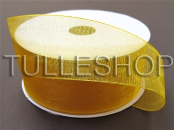 3/8 Inch Light Gold Organza Ribbon
