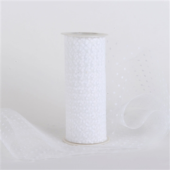 White Swiss Dot Nylon Tulle 6 inch x 10 yards