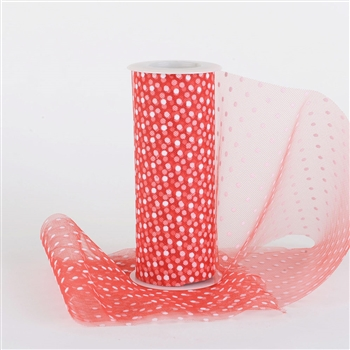Red Swiss Dot Nylon Tulle 6 inch x 10 yards