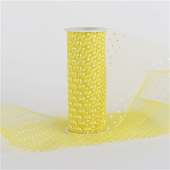 Yellow Swiss Dot Nylon Tulle 6 inch x 10 yards