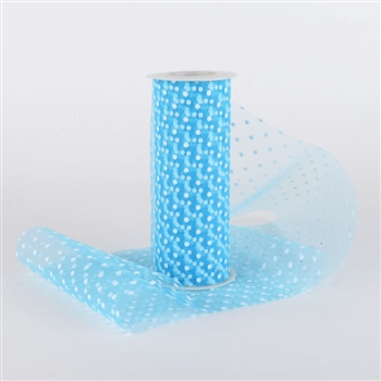 Turquoise Swiss Dot Nylon Tulle 6 inch x 10 yards
