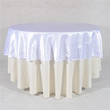 White 70 Inch Round Satin Tableclothss