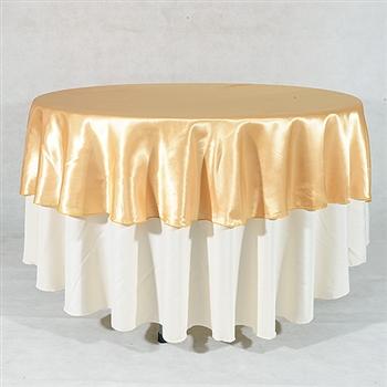 Gold 70 Inch Round Satin Tableclothss