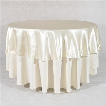Ivory 70 Inch Round Satin Tableclothss