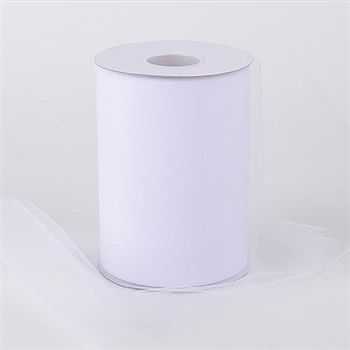 White 6 Inch Tulle Roll 100 Yards