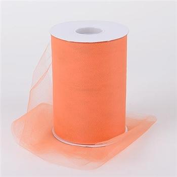 Orange 6 Inch Tulle Roll 100 Yards