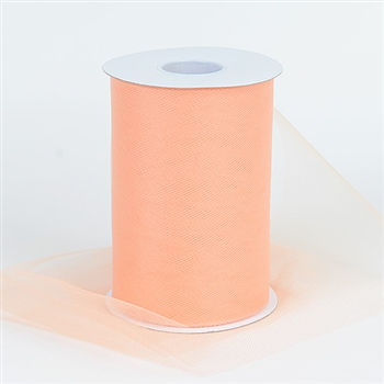 Peach 6 Inch Tulle Roll 100 Yards