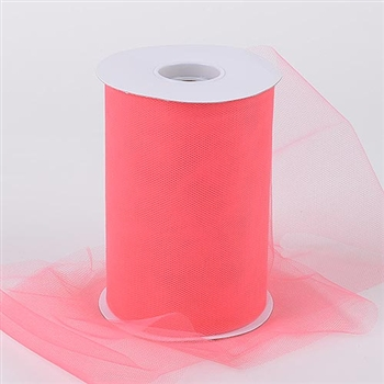 Coral 6 Inch Tulle Roll 100 Yards