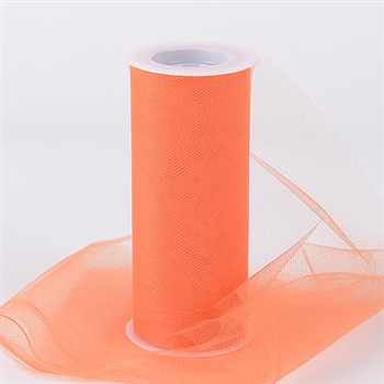 Orange 6 Inch Tulle Roll 25 Yards
