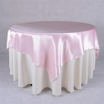 Light Pink 72 x 72 Inch Square Satin Overlays