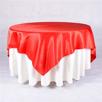 Red 72 x 72 Inch Square Satin Overlays