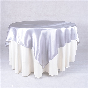 Silver 72 x 72 Inch Square Satin Overlays