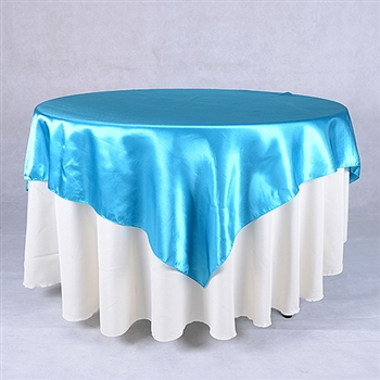 Turquoise 72 x 72 Inch Square Satin Overlays