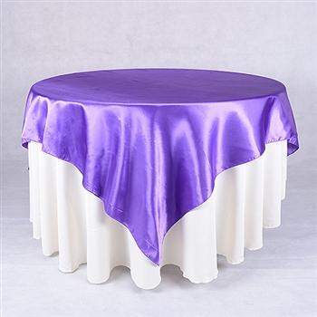 Purple 72 x 72 Inch Square Satin Overlays