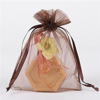 10 Chocolate Brown 8x14 Organza Favor Bags