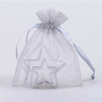 10 Silver 8x14 Organza Favor Bags