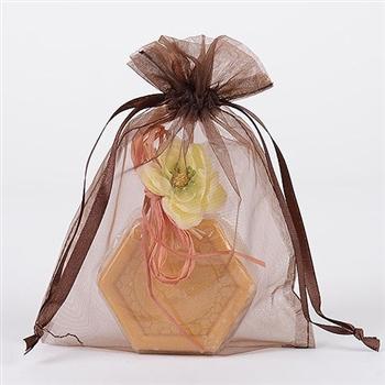 10 Chocolate Brown 8x14 Organza Favor Bags