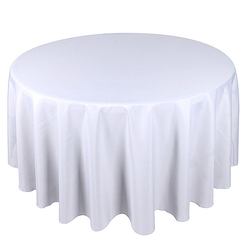 White 90 Inch Round Tablecloths