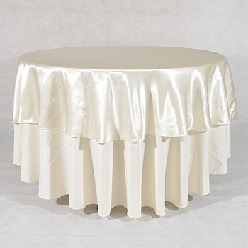 Ivory 90 Inch Round Satin Tableclothss