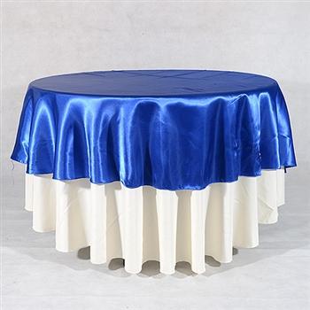 Royal Blue 90 Inch Round Satin Tableclothss