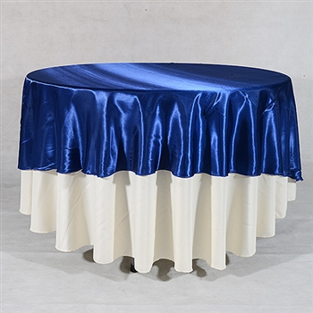 Navy Blue 90 Inch Round Satin Tableclothss