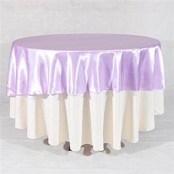 Lavender 90 Inch Round Satin Tableclothss