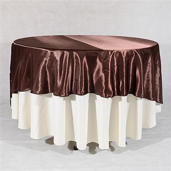 Chocolate Brown 90 Inch Round Satin Tableclothss