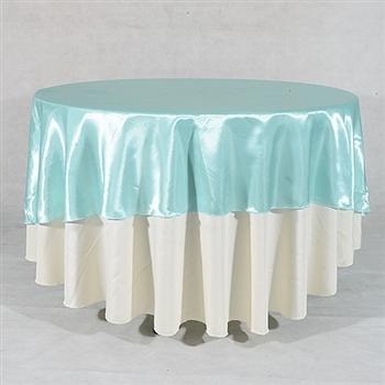 Aqua Blue 90 Inch Round Satin Tableclothss