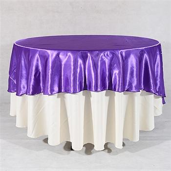Purple 90 Inch Round Satin Tableclothss