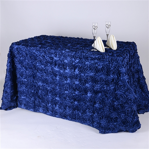 Navy Blue 90 Inch x 132 Inch Round Rosette Satin Tablecloths