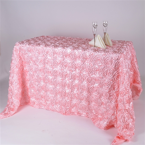 Pink 90 Inch x 132 Inch Round Rosette Satin Tablecloths