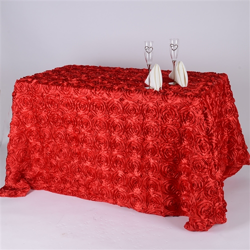 Red 90 Inch x 132 Inch Round Rosette Satin Tablecloths