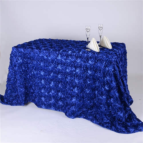 Royal Blue 90 Inch x 132 Inch Round Rosette Satin Tablecloths