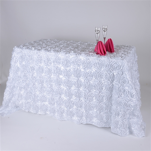 White 90 Inch x 132 Inch Round Rosette Satin Tablecloths