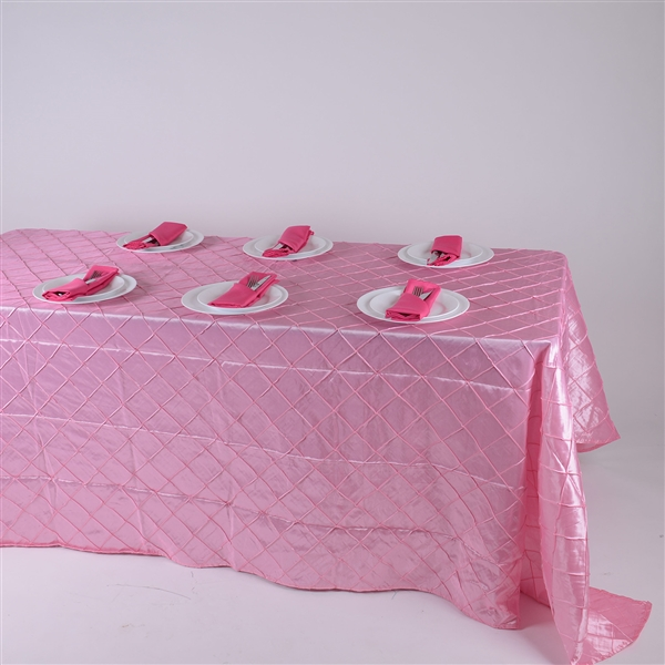 Pink 90 inch x 132 inch Pintuck Satin Tablecloth
