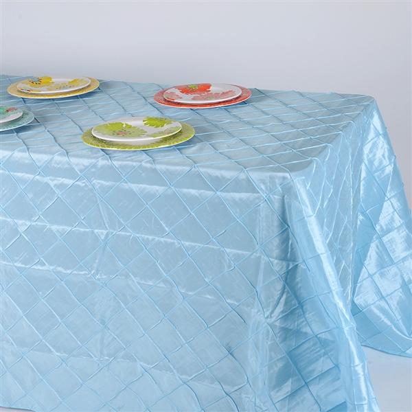 Light Blue 90 inch x 132 inch Pintuck Satin Tablecloth