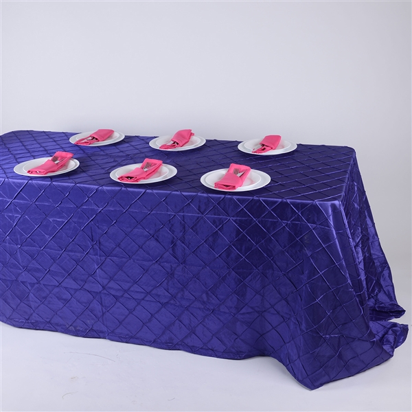 Purple 90 inch x 132 inch Pintuck Satin Tablecloth