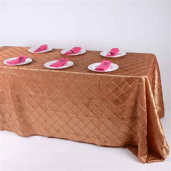 Gold 90 inch x 132 inch Pintuck Satin Tablecloth