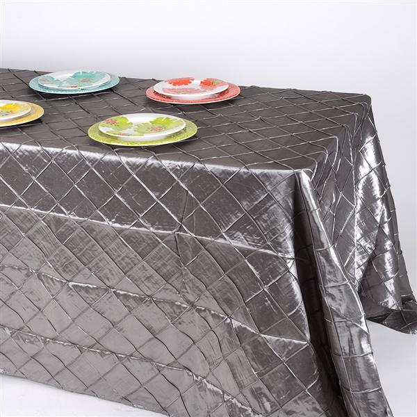 Silver 90 inch x 132 inch Pintuck Satin Tablecloth