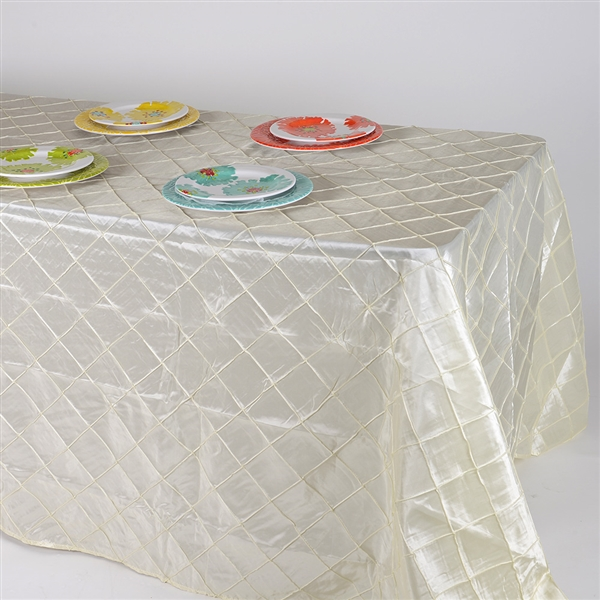 Ivory 90 inch x 132 inch Pintuck Satin Tablecloth