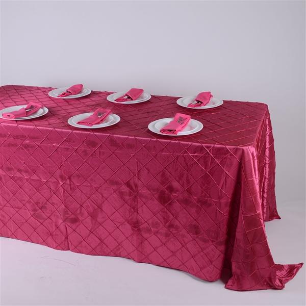 Fuchsia 90 inch x 132 inch Pintuck Satin Tablecloth