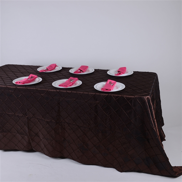 Chocolate Brown 90 inch x 132 inch Pintuck Satin Tablecloth