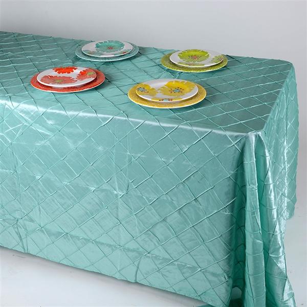 Aqua Blue 90 inch x 132 inch Pintuck Satin Tablecloth