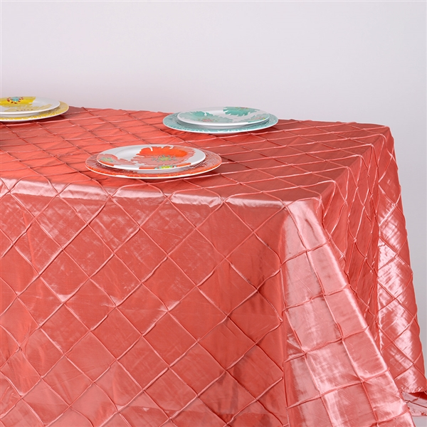 Coral 90 inch x 132 inch Pintuck Satin Tablecloth