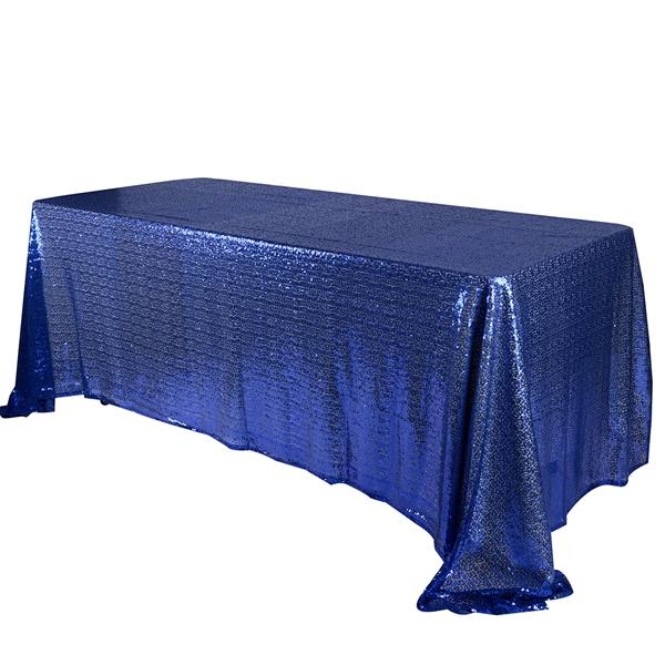 Navy Blue 90x132 inch Rectangular Duchess Sequin Tablecloth