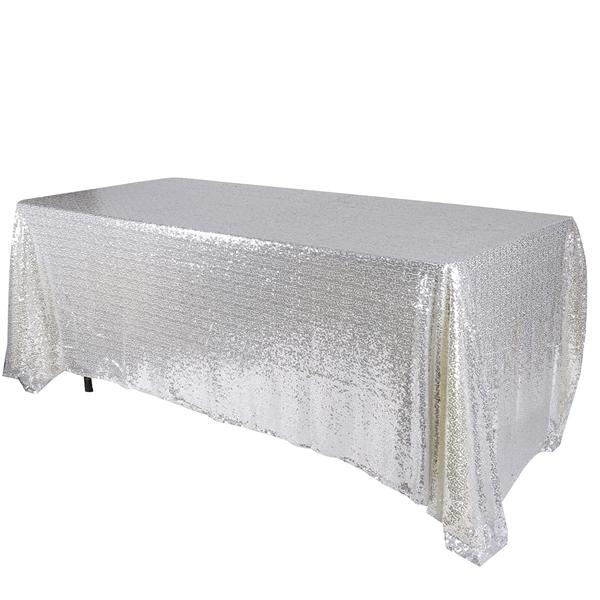 Silver 90x132 inch Rectangular Duchess Sequin Tablecloth