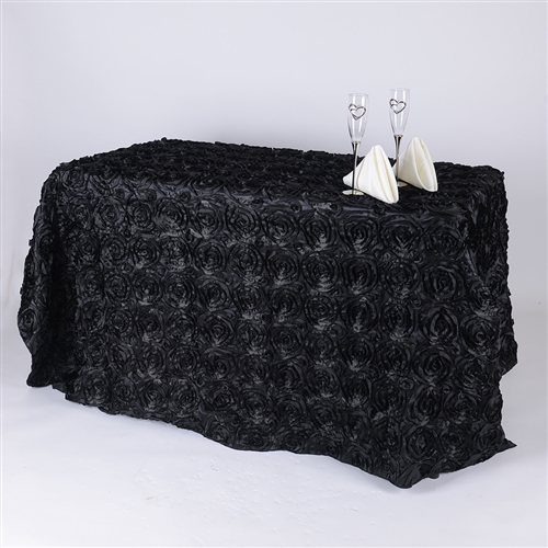 Black 90 Inch x 156  Inch Round Rosette Satin Tablecloths