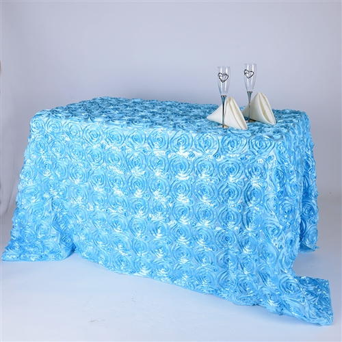 Light Blue 90 Inch x 156  Inch Round Rosette Satin Tablecloths