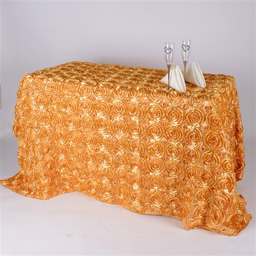 Gold 90 Inch x 156  Inch Round Rosette Satin Tablecloths