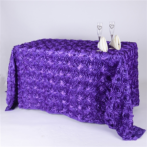Purple 90 Inch x 156  Inch Round Rosette Satin Tablecloths